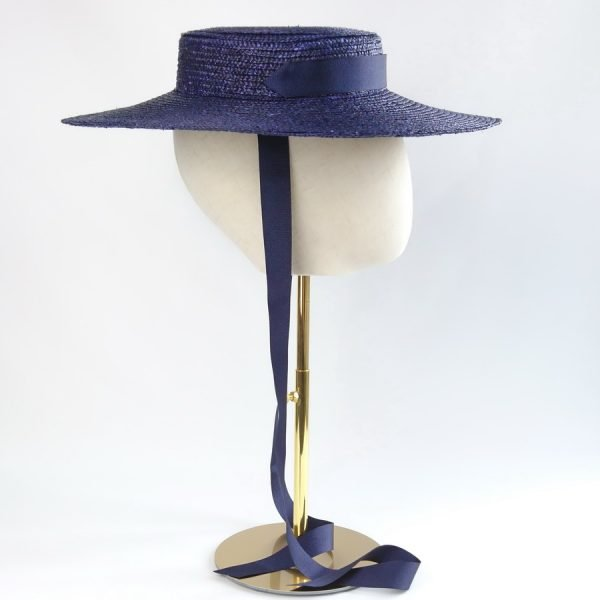 Vintage Style Sun Hat in Navy with a Detachable Navy Ribbon Tie