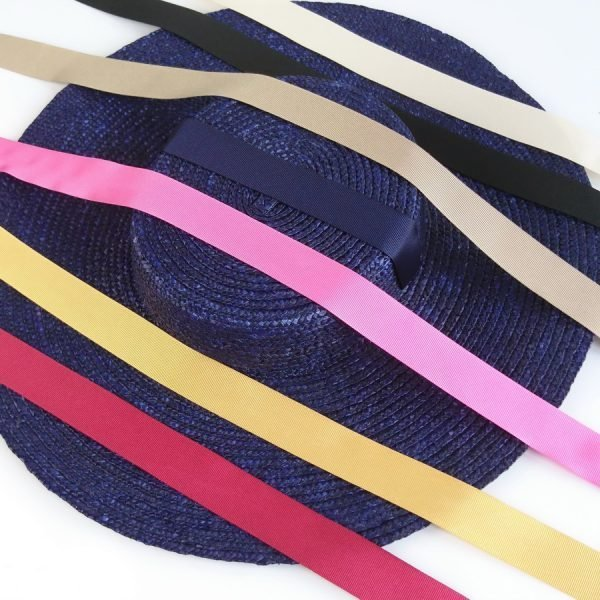 Detachable Ribbon Ties for Sun Hats shown with Navy Straw