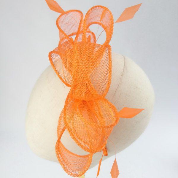 Orange Feather Fascinators