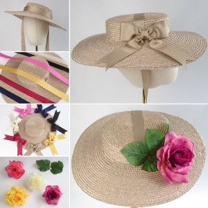 Oyster Straw Boater Sun Hat Customisation Options