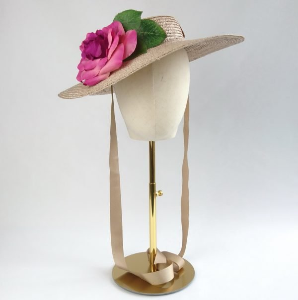 Summer Wedding Hat in Oyster with a Detachable Dark Pink Rose