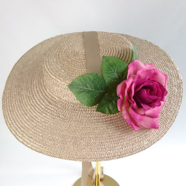 Summer Casual Hat in Oyster with a Detachable Dark Pink Rose