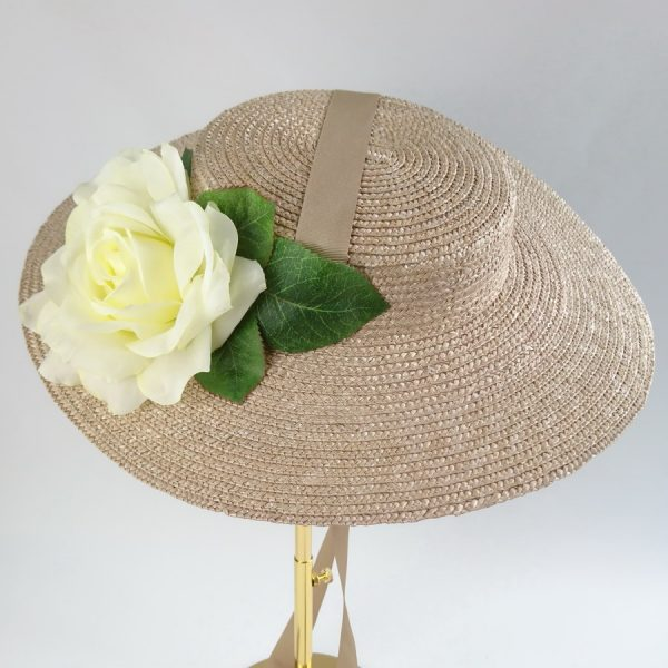 Wedding Hats for Guests in Oyster with a Detachable Ivory Rose