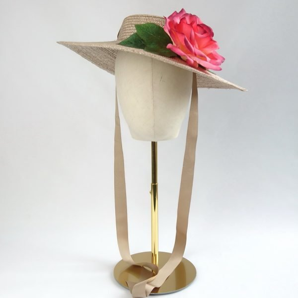 Summer Casual Hat in Oyster with a Detachable Pink Rose