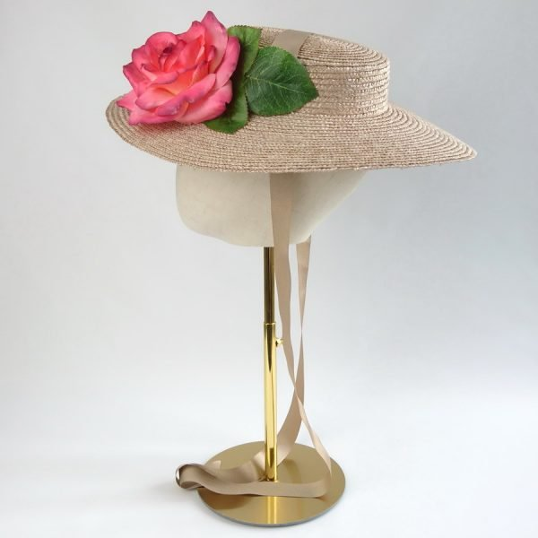 Summer Wedding Hat in Oyster with a Detachable Pink Rose