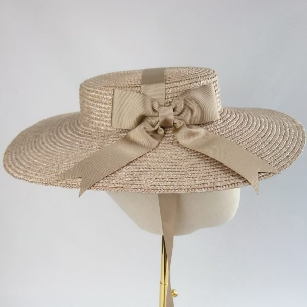 Vintage Style Sun Hat in Oyster with a Detachable Gold Ribbon Bow