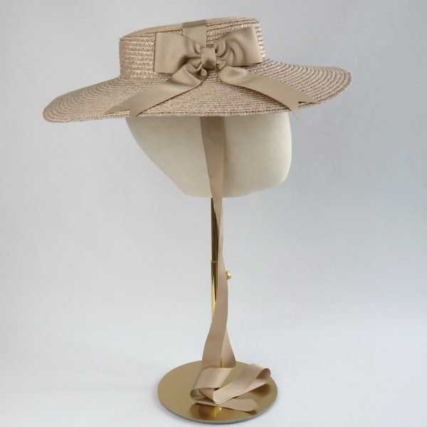 Summer Casual Hat in Oyster with a Detachable Gold Ribbon Bow
