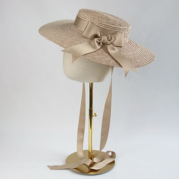 Summer Race Day Hat in Oyster with a Detachable Gold Ribbon Bow