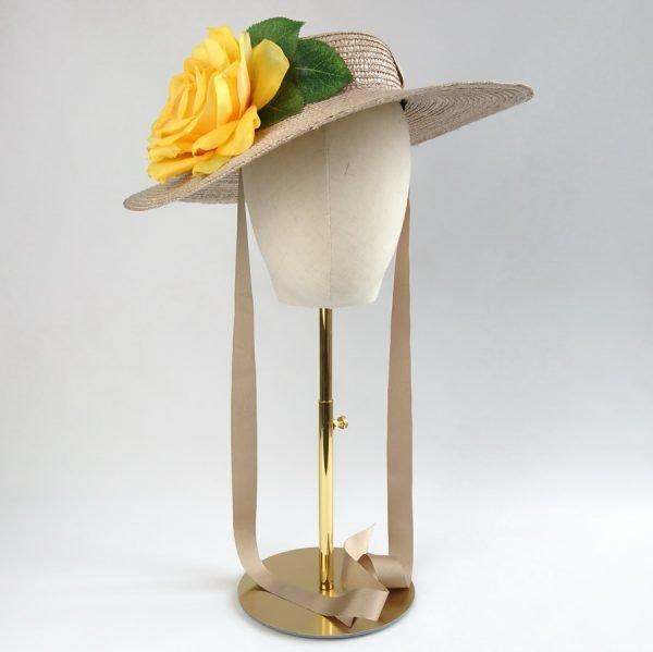 Summer Race Day Hat in Oyster with a Detachable Yellow Rose