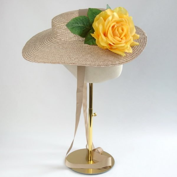 Summer Wedding Hat in Oyster with a Detachable Yellow Rose