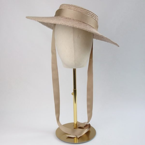 Summer Casual Hat in Oyster with a Detachable Gold Ribbon Ties