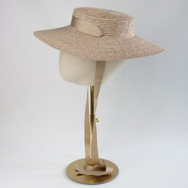 Wedding Hats for Guests in Oyster with a Detachable Gold Ribbon Tie