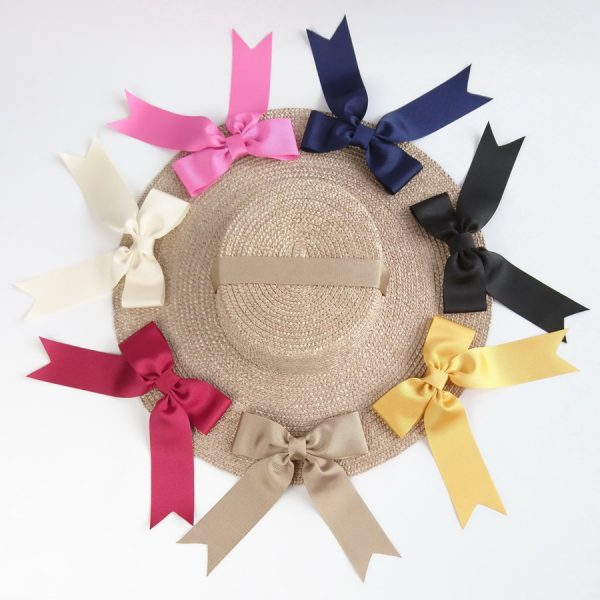 Detachable Ribbon Bows for Sun Hats shown with Oyster Straw