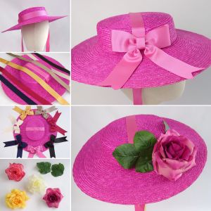 Pink Straw Boater Sun Hat Customisation Options