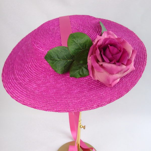 Summer Race Day Hat in Pink with a Detachable Dark Pink Rose