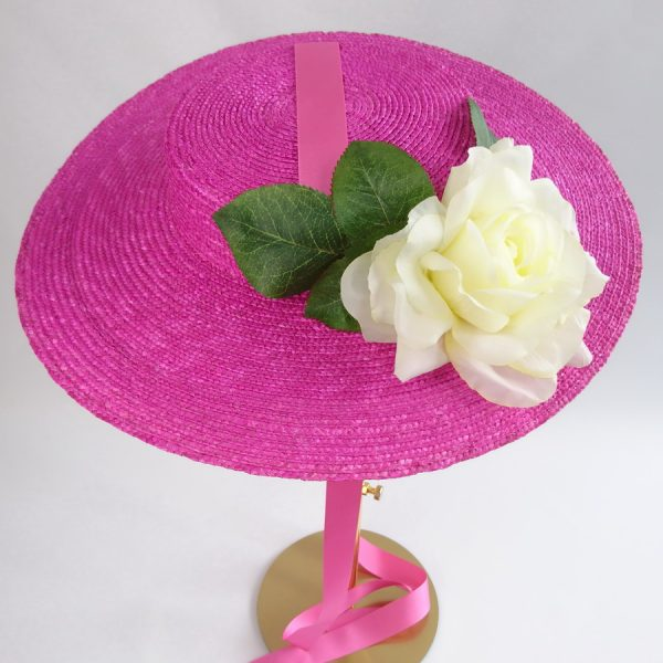 Summer Race Day Hat in Pink with a Detachable Ivory Rose