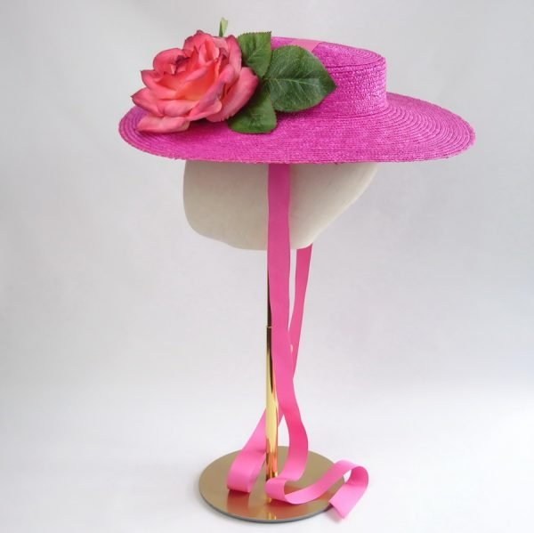 Wedding Hats for Guests in Pink with a Detachable Pink Rose