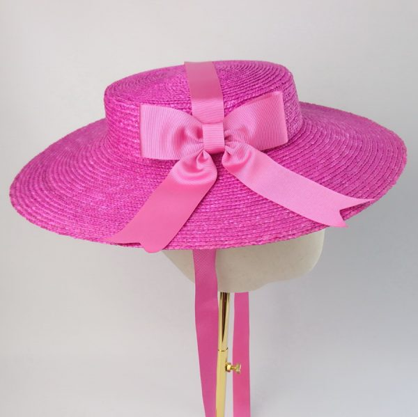 Vintage Style Sun Hat in Pink with a Detachable Pink Ribbon Bow