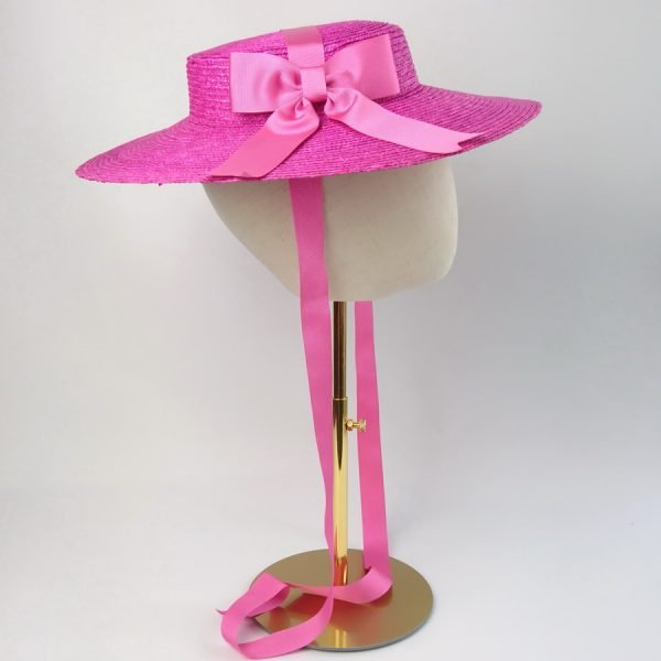 Summer Casual Hat in Pink with a Detachable Pink Ribbon Bow