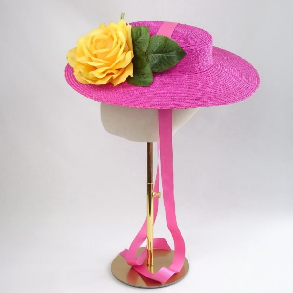 Summer Wedding Hat in Pink with a Detachable Yellow Rose