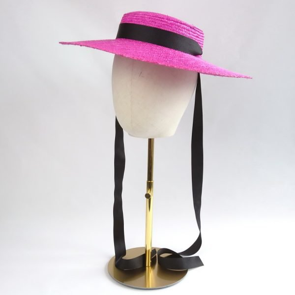 Summer Casual Hat in Pink with a Detachable Black Ribbon Tie