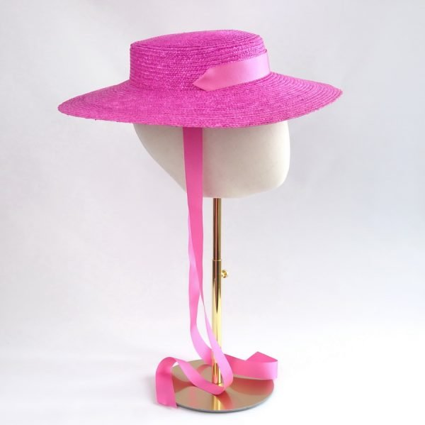 Vintage Style Sun Hat in Pink with a Detachable Pink Ribbon Tie