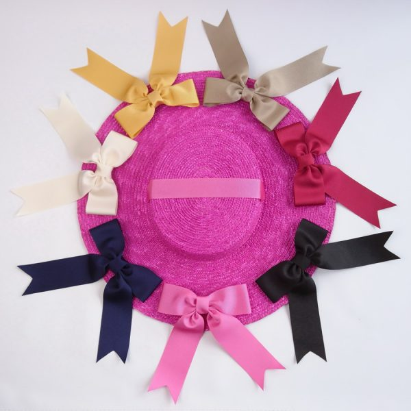 Detachable Ribbon Bows for Sun Hats shown with Pink Straw