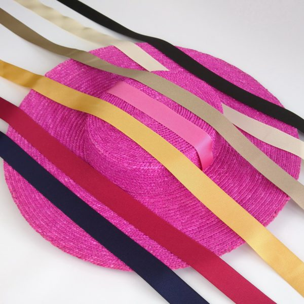 Detachable Ribbon Ties for Sun Hats shown with Pink Straw