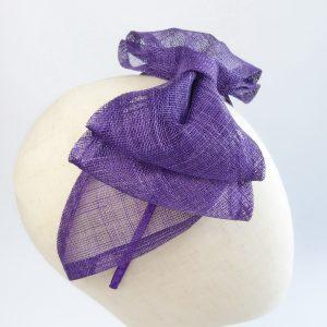 Purple Large Sinamay Bow Fascinator