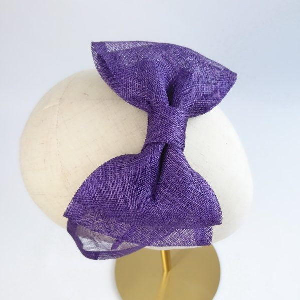 Purple Spring Hair Accessories. Large bow, handamde from purple sinamay straw.
