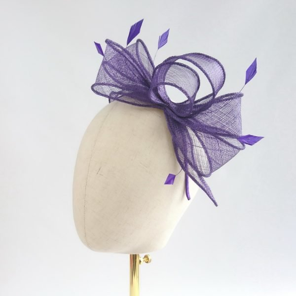 Purple Loop Fascinator with Coque Feathers