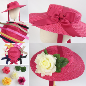 Red Straw Boater Sun Hat Customisation options