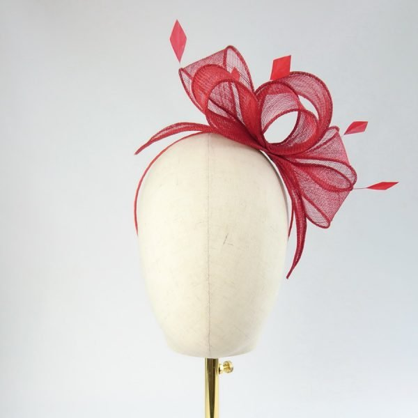 Red Loop Fascinator with Coque Feathers