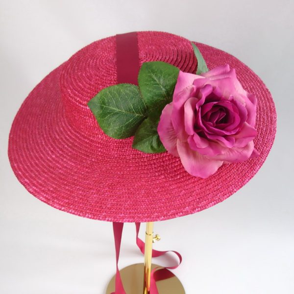 Vintage Style Sun Hat in Red with a Detachable Dark Pink Rose
