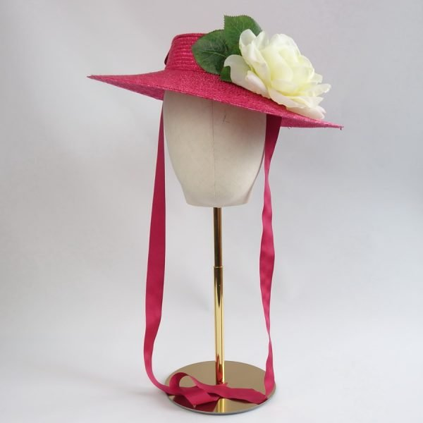 Wedding Hats for Guests in Red with a Detachable Ivory Rose