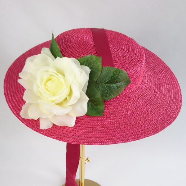 Summer Casual Hat in Red with a Detachable Ivory Rose