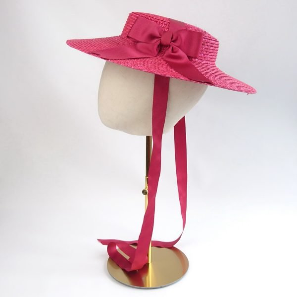 Summer Casual Hat in Red with a Detachable Red Ribbon Bow