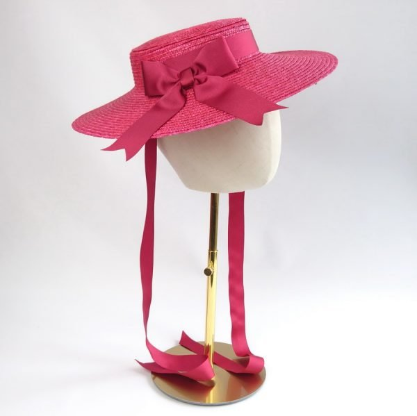 Summer Wedding Hat in Red with a Detachable Red Ribbon Bow