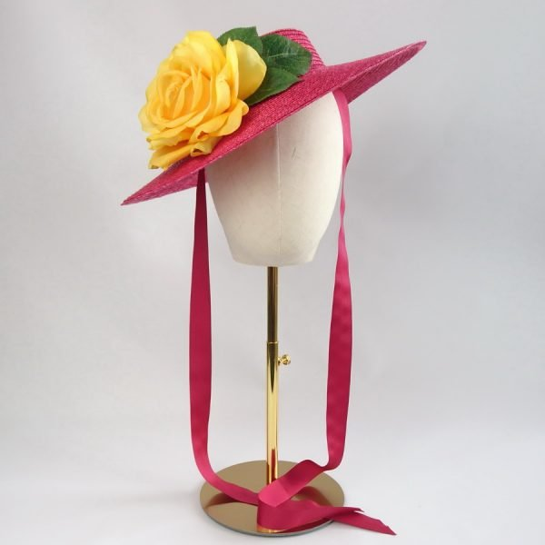 Vintage Style Sun Hat in Red with a Detachable Yellow Rose
