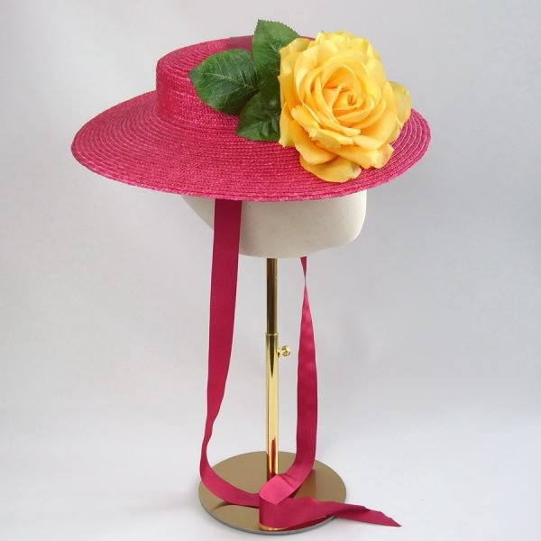 Summer Wedding Hat in Red with a Detachable Yellow Rose