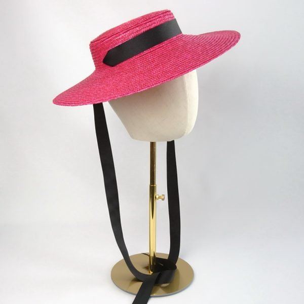 Summer Casual Hat in Red with a Detachable Black Ribbon Ties