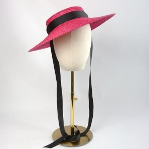 Red Straw Boater Sun Hat worn with Black Ribbon Ties