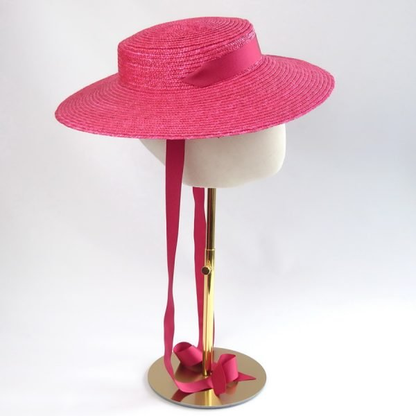 Vintage Style Sun Hat in Red with a Detachable Red Ribbon Ties