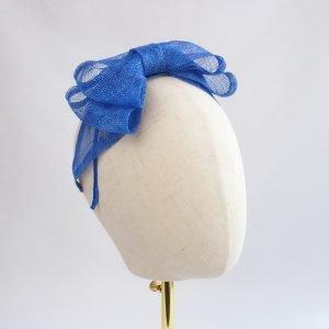 Royal Blue Large Sinamay Bow Fascinator