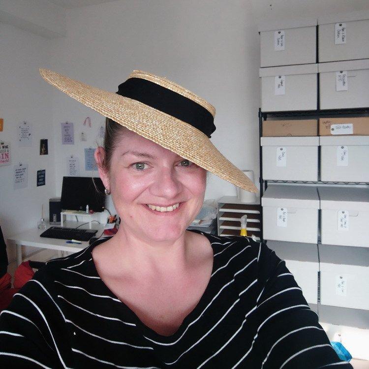 Sophie Cooke wearing an Imogen's Imagination sun hat