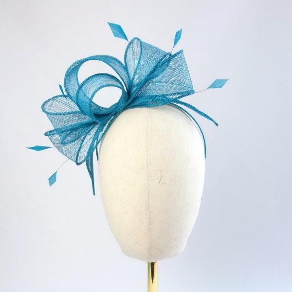 Teal Fascinator with Coque Feathers