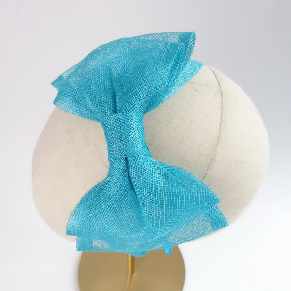 Turquoise Feather Free Fascinators with large sinamay bows