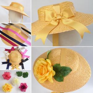 Yellow Straw Boater Sun Hat Customisation Options