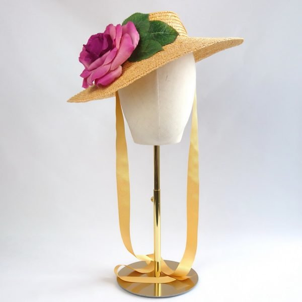 Wedding Hats for Guests in Yellow with a Detachable Dark Pink Rose