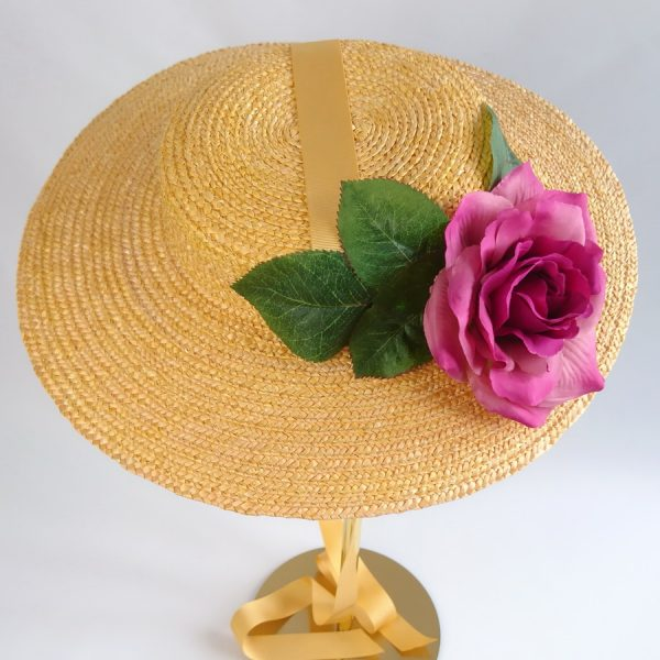Summer Race Day Hat in Yellow with a Detachable Dark Pink Rose